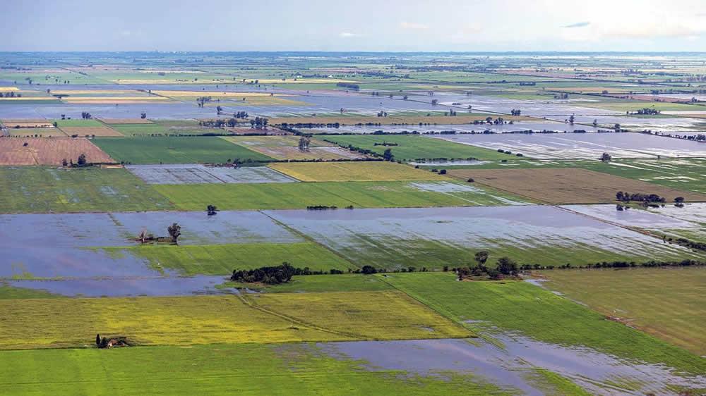Inundaciones en campos de Santa Fe