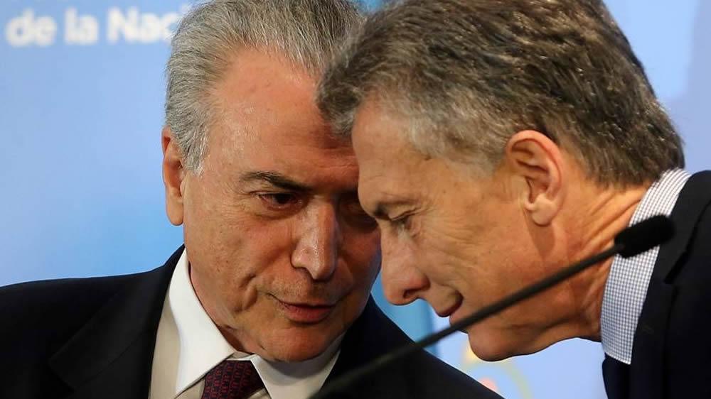 Mauricio Macri y Michael Temer
