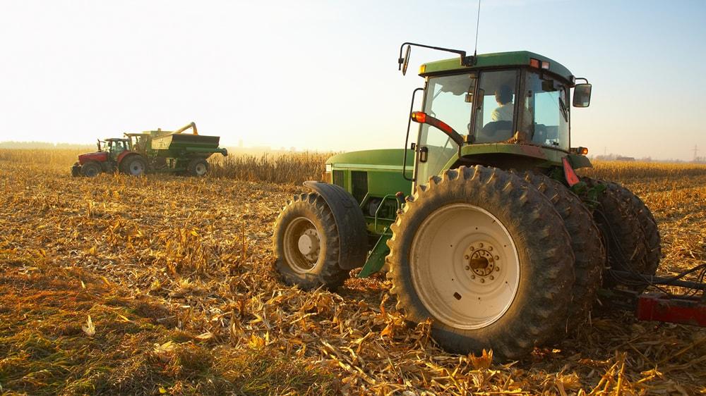 Tractoristas cosechando