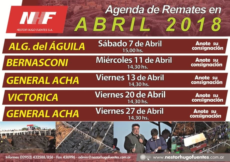 Remate en General Acha de Nestor Hugo Fuentes - 27 abril 2018 @ General Acha - La Pampa